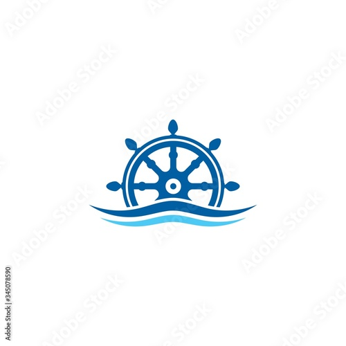 ship steering for sailing logo vector icon illustration template Canvas Print