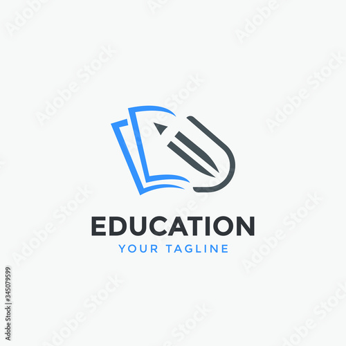 Fotomural education logo icon design vector illustration for univercity,school and other