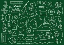 Hand Drawn Math Symbols. Math Symbols On Green Background. Sketch Math Symbols