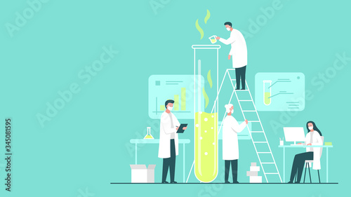 Photographie Vector concept illustration of a team of scientists wearing masks doing research in a chemistry lab