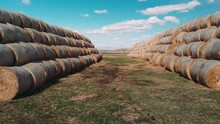 Aerial View A Hay Bales Are St...