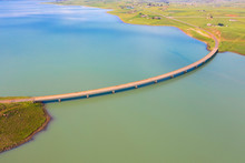 Aerial View: The Banana Bridge, So Named Because Of It's Curvature, Over The Woodstock Dam In South Africa