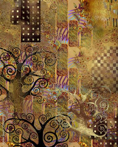 Obrazy Gustav Klimt  background-in-the-style-of-klimt-illustration-for-wallpaper-banner-background-card-book