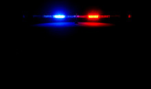 Bright Lights On A Police Car At Night.