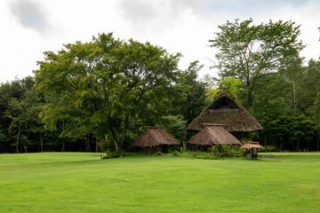 Gassho-Zukuri style huts in an ancient village near Aokigahara Forest (Kawaguchiko), Japan.