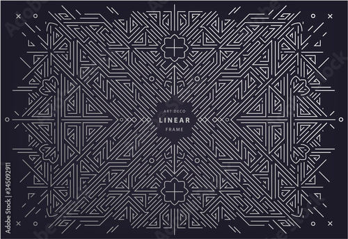 Vector art deco frame, abstract geometric design template for luxury products. Geometric silver background. Linear ornament composition, vintage. Use for packaging, branding, decoration