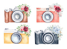 Watercolor Set Of Vintage Photo Cameras And Floral Bouquets On White Background. Hand Drawn Illustration.