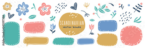 scandinavian flowers and frames big vector set