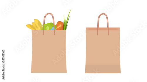 A paper bag for shopping with groceries Canvas Print