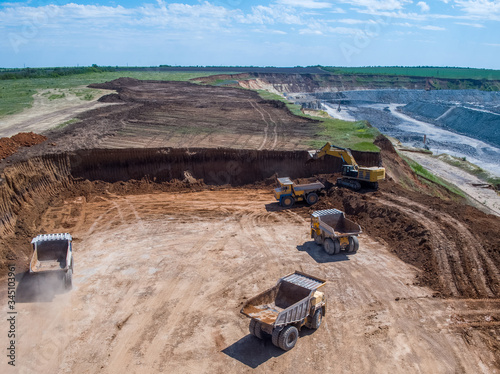 Big quarry, stone mining, equipment for working in quarries, aerial view Canvas Print