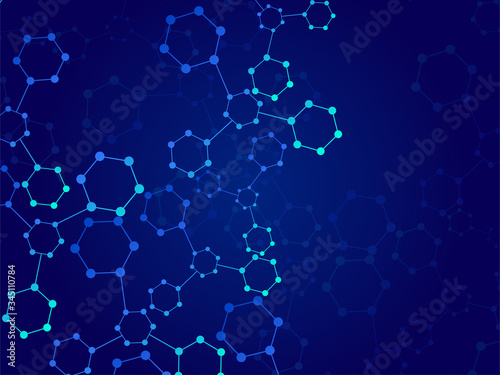 Obraz Abstract molecular structure, scientific geometric background. Technology hexagons structure. Vector illustration - fototapety do salonu