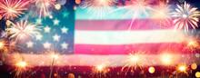 Usa Celebration With Fireworks...