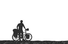 Bikepacking. Traveling Man Sta...