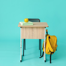 Modern School Desk On Color Background