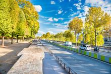 Street With Many Cars Near Green Park At European City. Paris, France