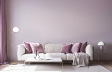 Modern Sofa On Light Pink Wall...