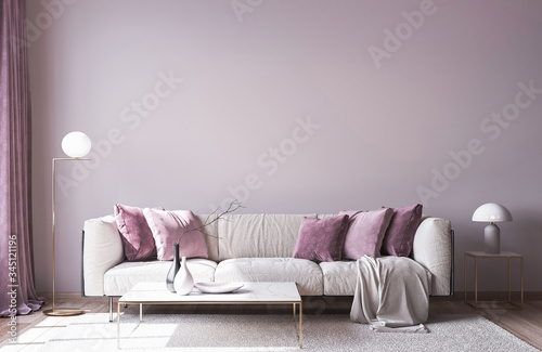 Fototapeta Modern sofa on light pink wall background with trendy home accessories, home decor interior, luxury living room obraz