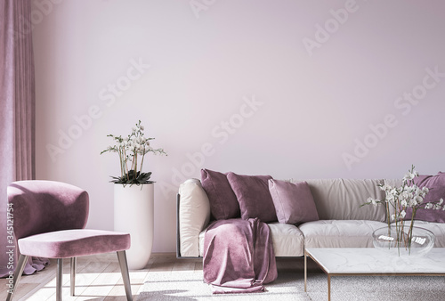 Fotografering Modern sofa on light pink wall background with trendy home accessories, home dec