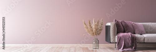 Modern sofa on light pink wall background with trendy home accessories, home dec Billede på lærred