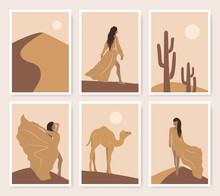 Abstract Desert Posters Set Of Asian Girls, Camel, Cactus And Moon In Minimalistic Style. Oriental Vector Illustration In Brown And Yellow Colors. Outdoor Sunset Landscape Travel Design.
