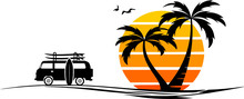 Palm Beach Van Surf Silhouette...