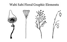 A Set Of Not Perfect Black Graphic Simple Plant Elements. Silhouettes Of Mushrooms, Lotus And Branches. Illustration Isolated On White. Hand Drawing Vector Asia Sign, Symbol. Wabi Sabi Japanese Style