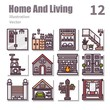 Home And Living icons Color symbol, vector and illustration set 3