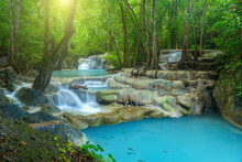 Beautiful Waterfall In Deep Forest At Erawan National Park, Thailand.