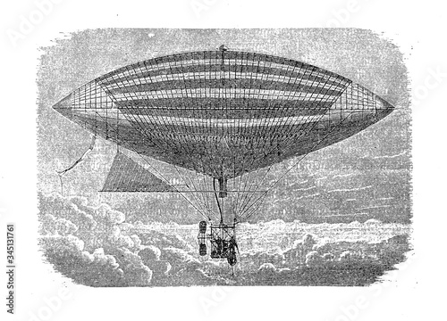 The first electric-powered flight of Gaston Tissandier French aeronaut in 1883, Poster Mural XXL