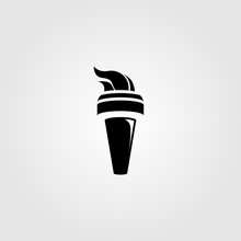 Black Torch With Fire Logo Vector Illustration Design