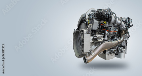Fotografia, Obraz Diesel engine isolated on gray background