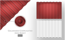 Galvanized Corrugated Iron Sheet Eps 10 Red And White Color. Roof Metal Tiles Slab For Covering Or Fencing Material