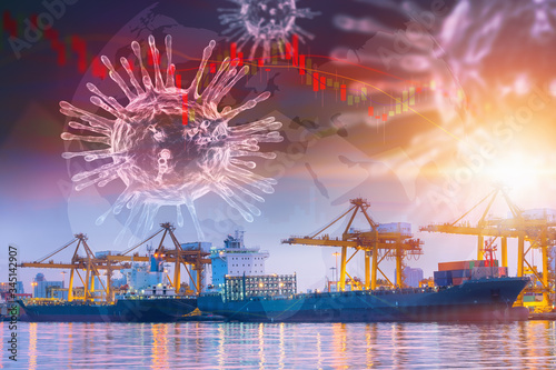 Coronavirus Impact Influence Transportation Import/Export Industry, Covid 19 Disease Epidemic Effect to Transport Industrial and Stock Exchange Canvas Print