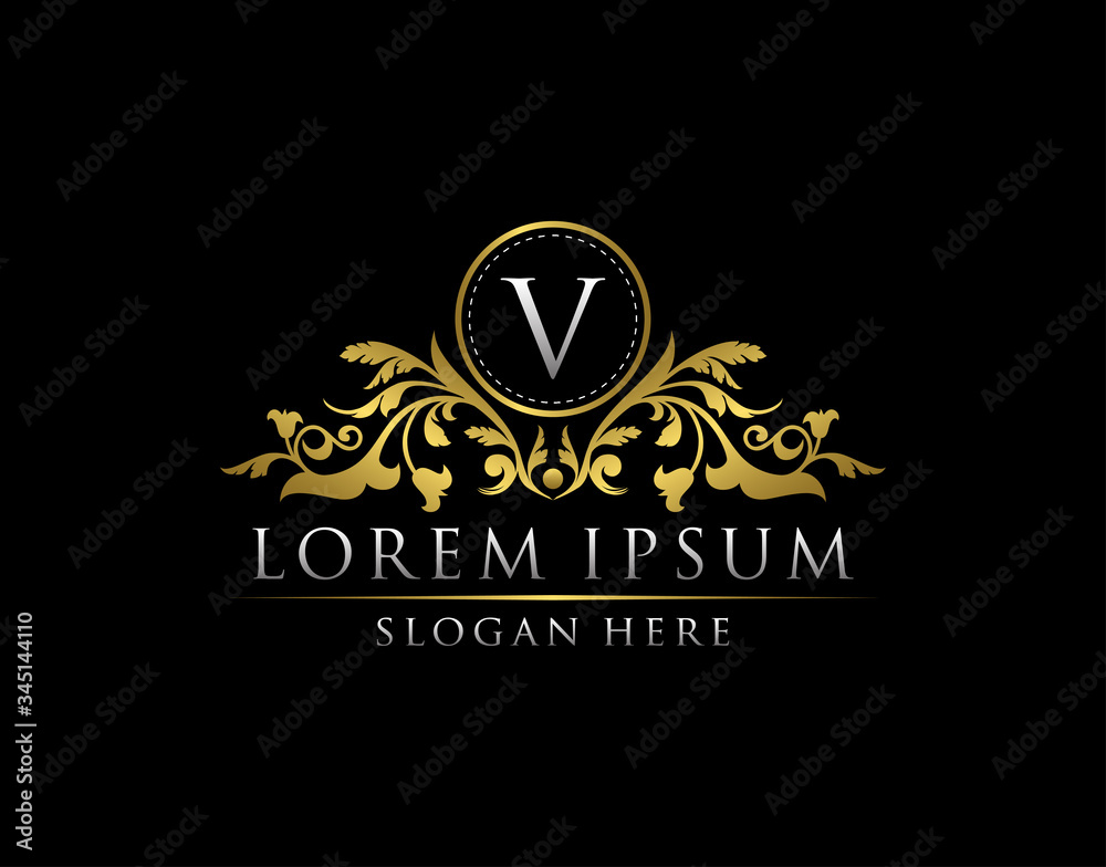 Fototapeta Luxury Gold V Letter Logo template in vector for Restaurant, Royalty, Boutique, Cafe, Hotel, Heraldic, Jewelry, Fashion and other vector illustration