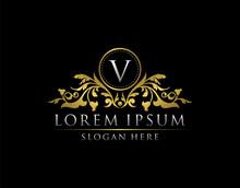 Luxury Gold V Letter Logo Temp...