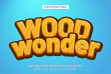 Wood Cartoon Game Style Editable Text Effect