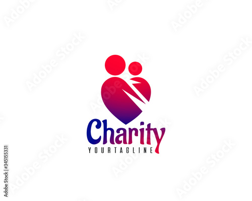 Professional and international charity donation organization or foundation logo Canvas Print