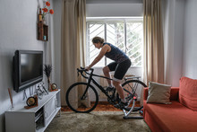 Cyclist Woman. She Is Training...