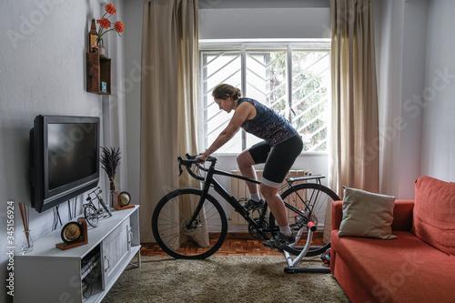 Fotografie, Tablou Cyclist woman