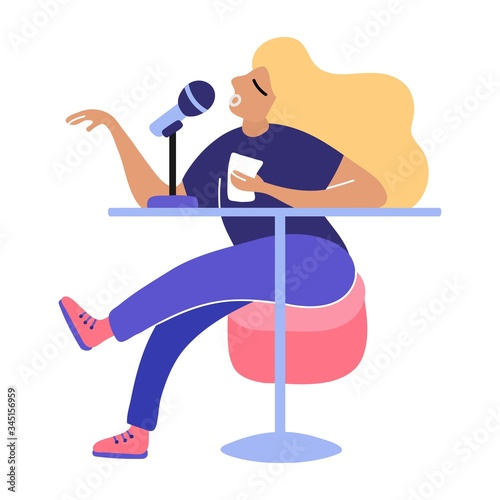The radio host enthusiastically broadcasts through the microphone Canvas-taulu