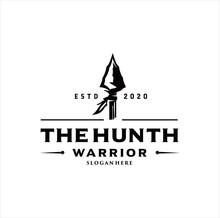 Arrowhead Spear Hunting Logo Design Vintage Hipster Retro