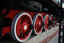 Red Wheels Of An Old Steam Loc...