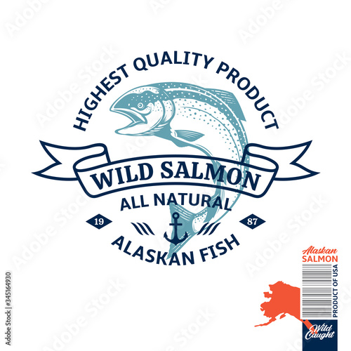 Vector wild caught Alaskan salmon logo Canvas Print