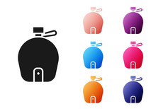 Black Canteen Water Bottle Icon Isolated On White Background. Tourist Flask Icon. Jar Of Water Use In The Campaign. Set Icons Colorful. Vector Illustration