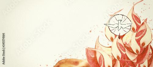 Pentecost. Christian banner, watercolor Tablou Canvas