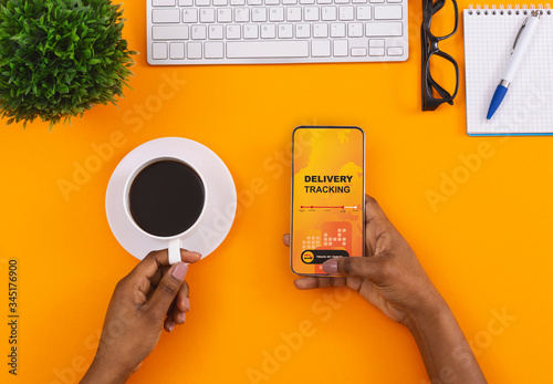 Fotomural African american woman hand holding a smartphone