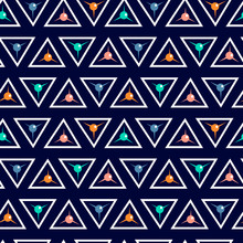 Seamless Geometric Pattern With White Triangles On A Blue Background.