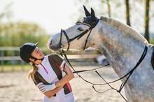 Beautiful Horse Rider Girl Sta...