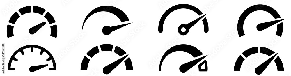 Fototapeta Speedometer, tachometer icon. Speed indicator sign. Internet car speed. Performance concept. Speedometer set. Fast speed sign. Flat simple icon - stock vector.