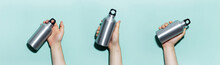 Collage Of Male Hands Holding Reusable Aluminum Thermo Water Bottle On Panoramic Background Of Cyan, Aqua Menthe Color.
